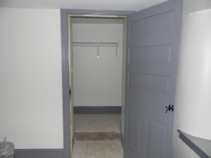 Master closet has a clothes bar -- we must be getting close to moving in.